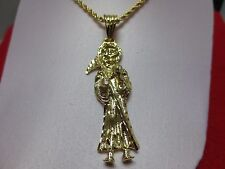 "14 KT GOLD PLATED (3"")  SANTA MUERTE CHARM & 3 MM  ROPE CHAIN  SET-A83"