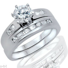 Brilliant Cut White Sapphire w/ Baguette CZ Engagement Wedding Silver Ring Set