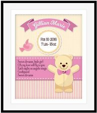 Personalized Birthday Its a Girl Baby Birth Announcement Plaque Shower Gift