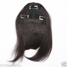 3Clips Virgin Clip in/on Remy Human Hair Bangs/Fringes Front Side Mix Colors