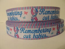Grosgrain Ribbon, Remembering Our Babies Awareness Butterflies on Ribbon, 7/8""