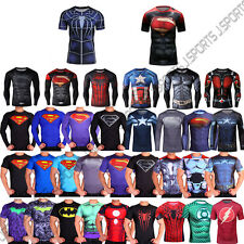 Superhero Print Mens Compression Tight Under Skins Short Long Sleeve Top Shirts