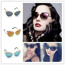 New Women's Gold Retro Cat Eye Sunglasses Classic Designer Vintage Fashion Shade