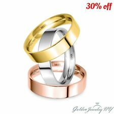 SOLID 18K WHITE YELLOW ROSE GOLD FLAT COMFORT FIT WEDDING BAND MENS WOMEN
