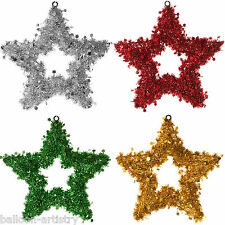 30cm Merry Christmas Party Hanging Tinsel STAR Wall Door Sign Decoration