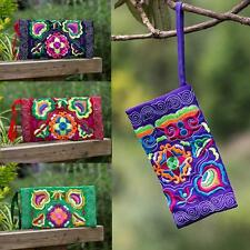Retro Women Wallet Ethnic Handmade Embroidered Purse Wristlet Clutch Phone Bags