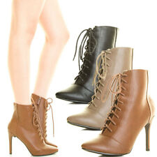 Women Military Combat Ankle Boot Booties Stiletto Heel Lace Up Zip Closed Toe US