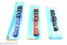 ASSORTED SIZE DOG COLLARS PAW PRINT SMALL MEDIUM OR LARGE RED BLUE OR BLACK