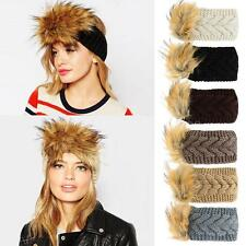 Women Lady Winter Faux Fur Crochet Knit Head Wrap Headband Ear Warmer Muffs IV8I