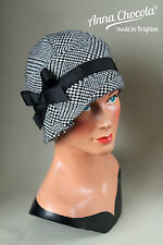 1920s 30s FLAPPER CLOCHE HAT Prince of Wales CHECK tweed made-to-order Chocola