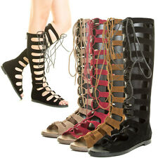 Women Cut Out Cage Strappy Lace Up Knee High Tall Gladiator Flat Sandal Open Toe
