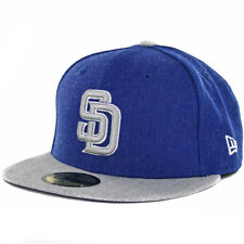 New Era 5950 Heather Action San Diego Padres Fitted Hat (Heather Blue/Grey) Cap