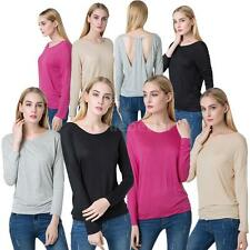 Lady Womens Sexy O neck Stretch T-shirt Long Sleeve Bottoming Tops Blouse J17B