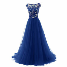 Cap Sleeve New Long Evening Bridesmaid Prom Dress Tulle Formal Pageant Ball Gown