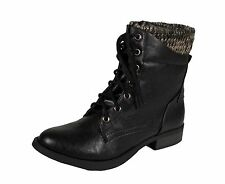 Lustacious Women's Spire Lace Up Sweater Knit Cuff Ankle Boots