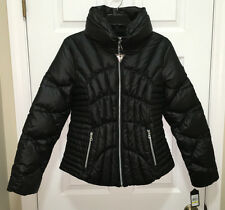 NEW Womens Sz M GUESS Fitted Quilted Down Black Puffer Winter Coat Jacket