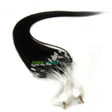 "16""-26"" Loop Micro Ring Beads Tipped Remy Human Hair Extensions Off Black AAAA"