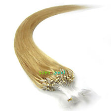 "New 16"" -26"" Golden Blonde Loop Mirco Beads Ring Remy Human Hair Extensions 100S"