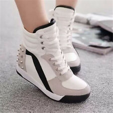 New Womens Sneakers Sports Comfort Rivet Hidden Wedge Heel High Fashion Shoes
