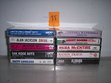LOT OF 10 GREAT COUNTRY CASSETTES  ALABAMA  REBA MCENTIRE  RANDY TRAVIS   LOT 35