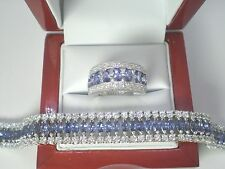 Tanzanite Marquis Clear Topaz Tennis Bracelet Matching Ring .925 Sterling Silver