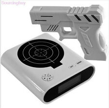 Laser Target Gun Shoot to Stop Game Alarm Clock LCD Screen Novelty Gift New