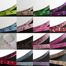 "12, mixed style 3/8"" 9mm YAMA Cherry Printed Grosgrain Ribbon meters"