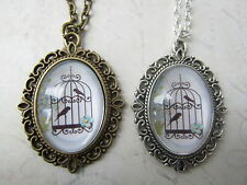 "Vintage White Blue Bird Cage Print Cameo 18"" Necklace Bronze / Silver New in Bag"