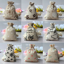 New 1/5/10Pcs Linen Jute Sack Jewelry Pouch Drawstring Favor Gift Bags Holder FT