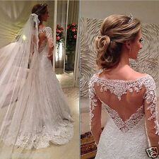 New Long Sleeves White/Ivory A-Line Appliqued Lace Wedding Dress Bridal Gown