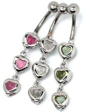 Stainless Steel Clear or Pink Dangle 3 Heart Crystal Belly Bar Ring Navel B7