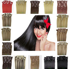 "20"" 24""  8pcs/set Clip In Remy Human Hair Extensions Long Straight 100g & 120g"