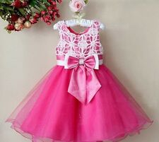 KIDS GIRLS SUMMER HOT PINK OCCASION/PARTY TUTU DRESS BRIDESMAID LACE AGE 2-12YRS