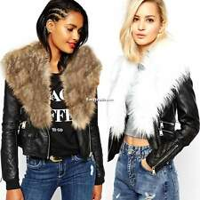 New Women Faux Fur Collar Biker Coat Motorcycle Zipper Soft Leather Jacket ESY1