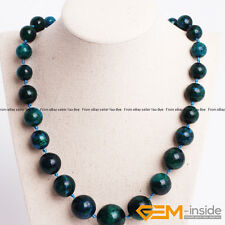 "Handmade 10-20mm Chrysocolla Graduated Round Beaded Necklace 19"" Jewelry Gift"