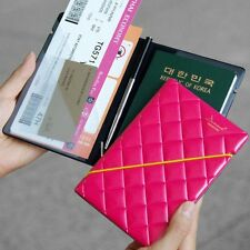 Short Leather 3D Diamond Travel Passport Cover Credit ID Card Cash Holder Wallet