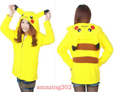 2016  Anime Animal Pikachu Zip Hoody Jacket Hoodie With Ears Polar Fleece