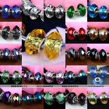 Womens Big Hole Faceted Crystal European Charms Bead Fit Bracelet Chain DIY Gift
