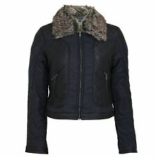 Womens Ladies Brave Soul Faux Fur Collar PVC Leather Look Quilted Jacket Coat