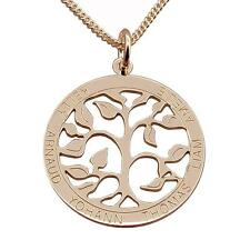 9ct Rose Gold Personalised Filigree Tree Of Life Family Pendant Chain Option