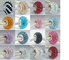 .925 STERLING SILVER BIRTHSTONE CRYSTAL BEAD FITS EUROPEAN CHARM BRACELET CB0055