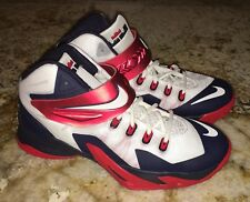 NIKE LeBron Zoom Soldier VIII Basketball Shoes Sneaker White Red Navy Mens 10