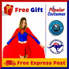 Womens Supergirl Superhero Superwoman Super Hero Fancy Dress Halloween Costume