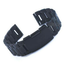 Black Stainless Steel Bracelet WatchBand Strap Straight End Solid Link 18 20 22
