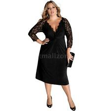 NEW Womens Deep V Neck Lace Sleeve Slim Party Evening Cocktail Dress Black N3I8