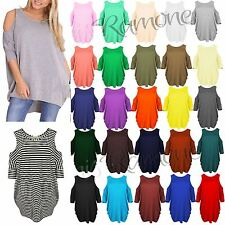 New Womens Ladies Cut Out Shoulder Short Sleeve Sexy T Shirt Tee Long Dress Top