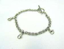 Stainless Steel Double Loop Toggle Chain Bracelet with Lobster Clasps