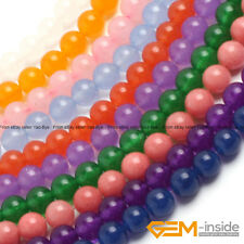 "Colorful Gemstone Jade Round Beads For Jewelry Making 15"" 4mm 6mm 8mm 10mm 12mm"