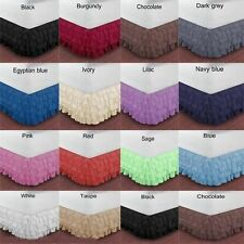 EXTRA DROP SUPER KING SIZE 1000TC EGYPTIAN COTTON MULTI RUFFLE BED SKIRT