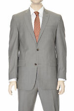 Michael Kors Modern Fit Taupe Pinstriped  Two Button Wool Suit With Peak Lapels